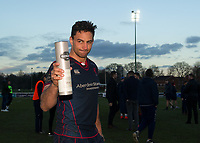 Man of the match during the Greene King IPA Championship match between London Scottish Football Club and Bristol Rugby at Richmond Athletic Ground, Richmond, United Kingdom on 17 February 2018. Photo by Vince  Mignott.