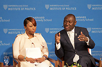 """Benjamin Crump, lawyer for families of Michael Brown, Trayvon Martin and Stephon Clark; Lezley McSpadden mother of Michael Brown; Jasmine Rand, Attorney for families of Michael Brown and Trayvon Martin; and Stranger Fruit documentary filmmaker Jason Pollock at Institute of Politics Forum """"Justice for Michael Brown 4 Years Later"""" at Harvard University Cambridge MA 4.24.18"""