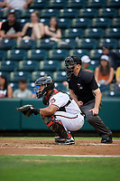 Richmond Flying Squirrels catcher Hamlet Marte (14) and umpire Matt Carlyon during an Eastern League game against the Binghamton Rumble Ponies on May 29, 2019 at The Diamond in Richmond, Virginia.  Binghamton defeated Richmond 9-5 in ten innings.  (Mike Janes/Four Seam Images)