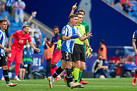 12th September 2021: Barcelona, Spain:  Adri Pedrosa of RCD Espanyol complains to the referee during the Liga match between RCD Espanyol and Atletico de Madrid at RCDE Stadium in Cornella, Spain.