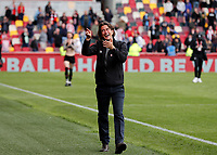 22nd May 2021; Brentford Community Stadium, London, England; English Football League Championship Football, Playoff, Brentford FC versus Bournemouth; Brentford Manager Thomas Frank celebrating in front of the Brentford fans while gesturing with one more win to reach the Premier League