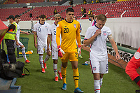 , MEXICO - : Djordje Mihailovic #8 and David Ochoa #20 of the U-23 USMNT walking out during a game between  and undefined at  on ,  in , Mexico.