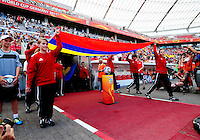 Fifa Women's World Cup Germany 2011 : Colombia - Sweden at Bayarena Leverkusen : colombiaanse vlag..foto DAVID CATRY / Vrouwenteam.be