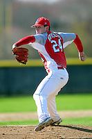 Bridgewater-Raynham Trojans pitcher Andrew Noviello (24) during a game versus the Lincoln-Sudbury Warriors on the campus of Bridgewater-Raynham High School on April 28,2015.( Ken Babbitt/Four Seam Images)