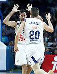 Real Madrid's Rudy Fernandez (l) and Jaycee Carroll celebrates during Euroleague, Regular Season, Round 5 match. November 3, 2016. (ALTERPHOTOS/Acero)
