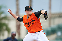 GCL Orioles starting pitcher Jensen Elliott (55) during a Gulf Coast League game against the GCL Braves on August 5, 2019 at Ed Smith Stadium in Sarasota, Florida.  GCL Orioles defeated the GCL Braves 4-3 in the first game of a doubleheader.  (Mike Janes/Four Seam Images)