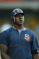 Gary Matthews, jr of the San Diego Padres during a 2003 season MLB game at Dodger Stadium in Los Angeles, California. (Larry Goren/Four Seam Images)