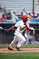 Auburn Doubledays center fielder Armond Upshaw (8) at bat during the first game of a doubleheader against the Mahoning Valley Scrappers on July 2, 2017 at Falcon Park in Auburn, New York.  Mahoning Valley defeated Auburn 3-0.  (Mike Janes/Four Seam Images)
