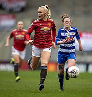 7th February 2021; Leigh Sports Village, Lancashire, England; Women's English Super League, Manchester United Women versus Reading Women; Maria Thorisdottir of Manchester United Women chases a lose ball