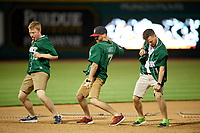 Fort Wayne TinCaps  grounds crew dancing during a game against the West Michigan Whitecaps on May 17, 2018 at Parkview Field in Fort Wayne, Indiana.  Fort Wayne defeated West Michigan 7-3.  (Mike Janes/Four Seam Images)