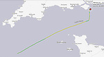 Pictured: The past route of Nave Andromeda<br /> <br /> A major incident is underway off the British coast today following reports of an attempted hijacking of a ship.   The 228-metre oil tanker has been forced to anchor in the Solent following reports that a number of stowaways have been found on board.<br /> <br /> Authorities including the Coastguard and police scrambled to the scene off the south east of the Isle of Wight.   The Liberian-flagged Nave Andromeda, which has been at sea since leaving Nigeria earlier this month, is now being monitored by a Coastguard Rescue 175 helicopter which is circling above.  SEE OUR COPY FOR DETAILS<br /> <br /> © Solent News & Photo Agency<br /> UK +44 (0) 2380 458800