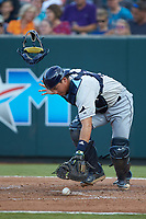 Princeton Rays catcher Roberto Alvarez (13) flips his mask as he chases after a pitch in the dirt during the game against the Pulaski Yankees at Calfee Park on July 14, 2018 in Pulaski, Virginia. The Rays defeated the Yankees 13-1.  (Brian Westerholt/Four Seam Images)