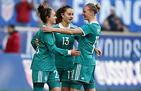 Harrison, N.J. - Sunday March 04, 2018: Germany celebrates their goal during a 2018 SheBelieves Cup match between the women's national teams of the Germany (GER) and England (ENG) at Red Bull Arena.