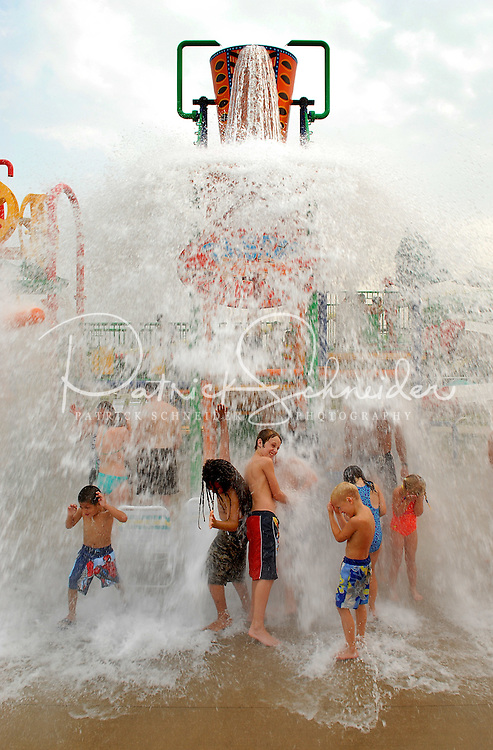 Children and teenagers are splashed with water at Carowinds theme park near Charlotte NC.