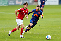 Crewe Alexandra's Ryan Wintle under pressure from Blackpool's Ethan Robson<br /> <br /> Photographer Rich Linley/CameraSport<br /> <br /> The EFL Sky Bet League One - Crewe Alexandra v Blackpool - Saturday 17th October 2020 - Gresty Road - Crewe<br /> <br /> World Copyright © 2020 CameraSport. All rights reserved. 43 Linden Ave. Countesthorpe. Leicester. England. LE8 5PG - Tel: +44 (0) 116 277 4147 - admin@camerasport.com - www.camerasport.com