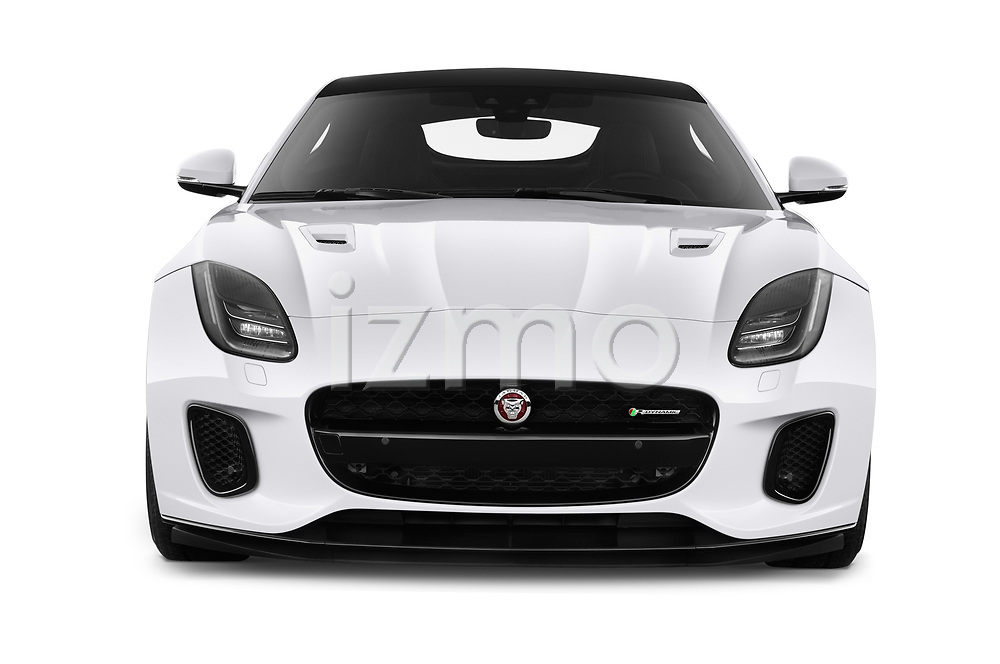 Car photography straight front view of a 2019 Jaguar F-Type R-Dynamic 2 Door Coupe Front View