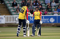 Paul Walter and Ryan ten Doeschate enjoy a useful partnership for Essex during Somerset vs Essex Eagles, Vitality Blast T20 Cricket at The Cooper Associates County Ground on 9th June 2021
