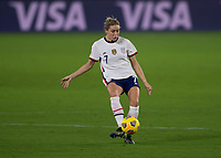 ORLANDO CITY, FL - FEBRUARY 18: Abby Dahlkemper #7 passes the ball during a game between Canada and USWNT at Exploria stadium on February 18, 2021 in Orlando City, Florida.