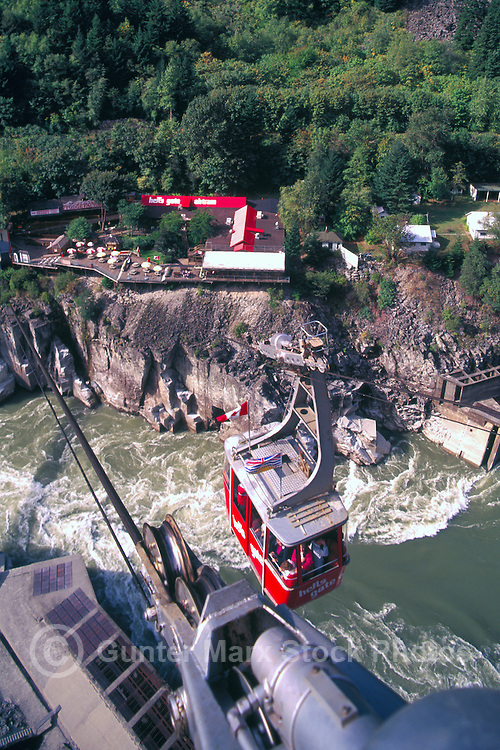 Hell's Gate, Fraser Canyon, BC, British Columbia, Canada - Airtram over Fraser River, Observation Deck, and Fish Ladder / Fishway
