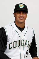Fernando Cruz (8) of the Kane County Cougars at Elfstrom Stadium in Geneva, Illinois;  April 5, 2011. Photo By Chris Proctor/Four Seam Images.