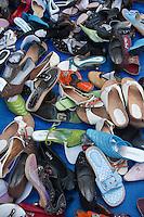 Kathmandu, Nepal.  Shoes for Sale in Sidewalk Market, Downtown Kathmandu.