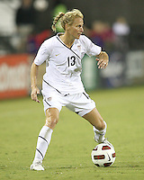 Kristine Lilly #13 of the USA WNT during an international friendly match against the PRC WNT at KSU Soccer Stadium, on October 2 2010 in Kennesaw, Georgia.USA won 2-1.