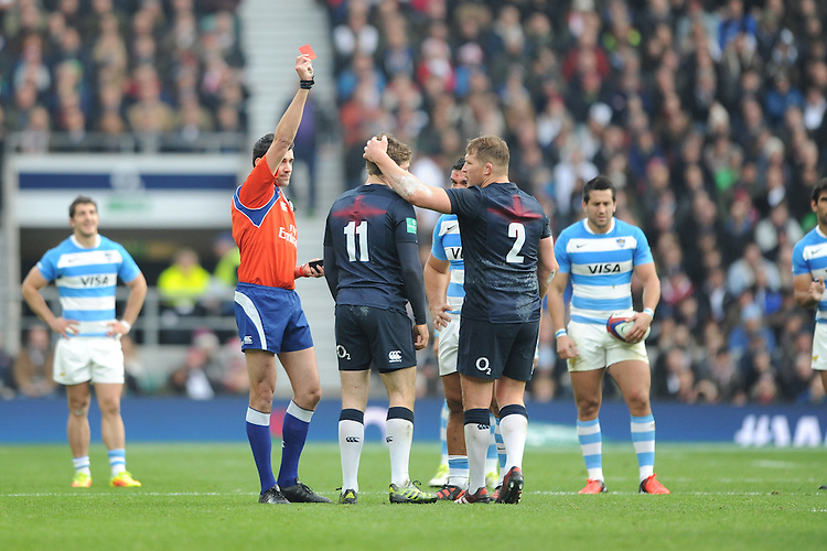Elliot Daly of England is shown a red card by Referee Pascal Gauzère of France during the Old Mutual Wealth Series match between England and Argentina at Twickenham Stadium on Saturday 26th November 2016 (Photo by Rob Munro)