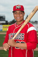Batavia Muckdogs outfielder Carlos Duran (25) poses for a photo during media day on June 10, 2014 at Dwyer Stadium in Batavia, New York.  (Mike Janes/Four Seam Images)