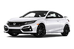Stock pictures of low aggressive front three quarter view of 2020 Honda Civic-Si-Coupe Si 2 Door Coupe Low Aggressive
