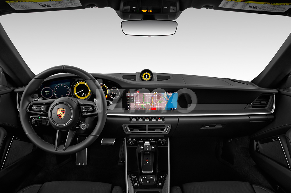Stock photo of straight dashboard view of a 2020 Porsche 911 Carrera S 2 Door Coupe
