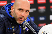 HARRISON, NJ - FEBRUARY 26: Head coach Luis Antonio Marin of AD San Carlos during a game between AD San Carlos and NYCFC at Red Bull on February 26, 2020 in Harrison, New Jersey.