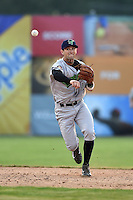 Jamestown Jammers shortstop Tyler Filliben (15) throws to first during a game against the Batavia Muckdogs on July 7, 2014 at Dwyer Stadium in Batavia, New York.  Batavia defeated Jamestown 9-2.  (Mike Janes/Four Seam Images)