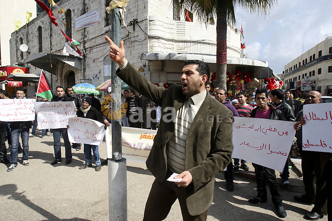 Palestinians participate protest against rising prices and taxes in the city of Nablus West Bank, Saturday, Feb. 25, 2012. Photo by Wagdi Eshtayah