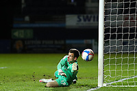 4th May 2021; Kenilworth Road, Luton, Bedfordshire, England; English Football League Championship Football, Luton Town versus Rotherham United; Simon Sluga of Luton Town makes a save and tips the shot around his post
