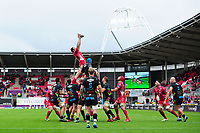 Uzair Cassiem of Scarlets claims the lineout during the Guinness Pro14 Round 02 match between the Scarlets and Zebre Rugby at the Parc Y Scarlets Stadium in Llanelli, Wales, UK. Saturday 12 October 2019
