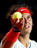 Lo spagnolo Rafael Nadal al servizio durante gli Internazionali d'Italia di tennis a Roma, 15 Maggio 2013..Spain's Rafael Nadal serves the ball during the Italian Open Tennis tournament ATP Master 1000 in Rome, 15 May 2013.UPDATE IMAGES PRESS/Riccardo De Luca..