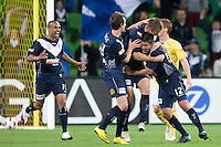 MELBOURNE, AUSTRALIA - NOVEMBER 18: Rodrigo Vargas of the Victory celebrates his goal during the round 14 A-League match between the Melbourne Victory and Central Coast Mariners at AAMI Park on November 18, 2010 in Melbourne, Australia (Photo by Sydney Low / Asterisk Images)