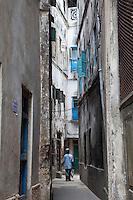 Zanzibar, Tanzania.  Narrow Street, Stone Town.
