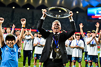 30th August 2020. Sydney, Australia;  Steve Corica Front, manager of Sydney FC, celebrates during the awarding ceremony for the 2019/2020 season A-League in Sydney, Australia. Sydney FC claimed a historic fifth A-League crown after beating Melbourne City 1-0 in the Grand Final of A-League on Sunday night.