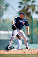 Atlanta Braves pitcher Drew Harrington (33) during a minor league Spring Training game against the Pittsburgh Pirates on March 13, 2018 at Pirate City in Bradenton, Florida.  (Mike Janes/Four Seam Images)