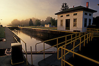 AJ4375, Erie Canal, Lock, sunrise, Upstate, New York, Sunrise on the Erie Canal at Lock 21 in the state of New York.