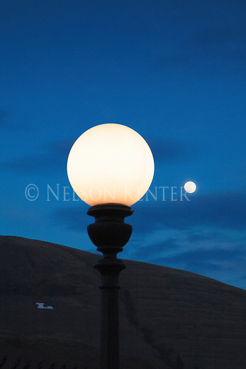 """A street light lamp post in Missoula, Montana during the full moon. With the """"L"""" on Mount Jumbo"""