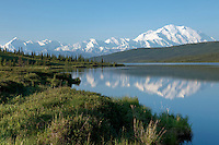 Early clear summer morning at Wonder Lake in Denali National Park, Alaska with Mt. McKinley reflection.