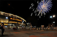 15 August 2008: Friday night fireworks highlight the evening sky after the Washington Nationals fall to the Colorado Rockies at Nationals Park in Washington, DC. The Rockies edged out the Nationals 4-3, handing the last place Nationals their 8th consecutive loss. ..Mandatory Photo Credit: Ed Wolfstein Photo