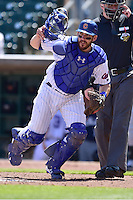 Catcher Taylor Teagarden (30) of the Iowa Cubs chases a wild pitch against the New Orleans Zephyrs at Principal Park on April 23, 2015 in Des Moines, Iowa.  The Zephyrs won 9-2.  (Dennis Hubbard/Four Seam Images)