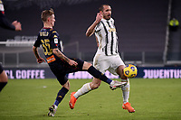 Nicolo Rovella of Genoa CFC and Giorgio Chiellini of Juventus FC compete for the ball during the Italy Cup round of 16 football match between Juventus FC and Genoa CFC at Juventus stadium in Torino (Italy), January 13th, 2021. Photo Federico Tardito / Insidefoto