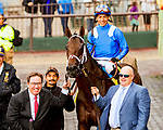 """ELMONT, NEW YORK - SEPT 30:  Takaful #4, ridden by Jose Ortiz , wins the Vosburgh Stakes, a """"Win & You're In' event, at Belmont Park on September 30, 2017 in Elmont, New York. ( Photo by Sue Kawczynski/Eclipse Sportswire/Getty Images)"""