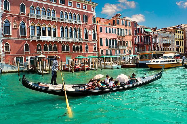 Gondolas on the Grand Canal near St Marks Square , Venice, Italy