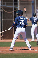 San Diego Padres catcher Luis Torrens (21) at bat during an Extended Spring Training game against the Colorado Rockies at Peoria Sports Complex on March 30, 2018 in Peoria, Arizona. (Zachary Lucy/Four Seam Images)