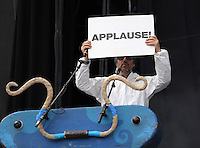 Pictured: Gruff Rhys of the Super Furry Animals with an 'Applause' placard Saturday May 2016<br /> Re: Manic Street Preachers at the Liberty Stadium, Swansea, Wales, UK